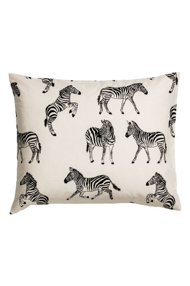 Patterned pillowcase - Light beige/Zebras - Home All | H&M GB