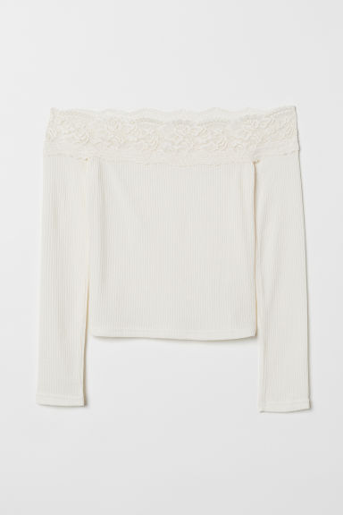 Off-the-shoulder top - White -  | H&M