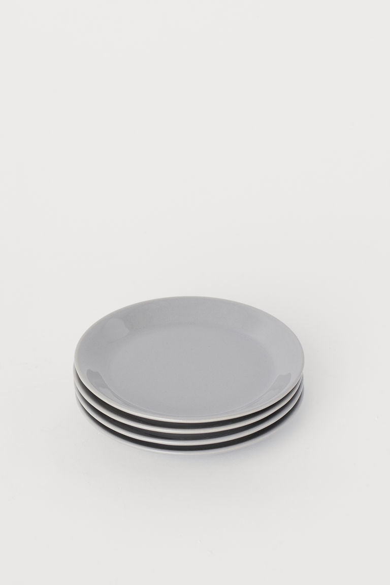4-pack small ceramic plates - Light grey - Home All | H&M CN