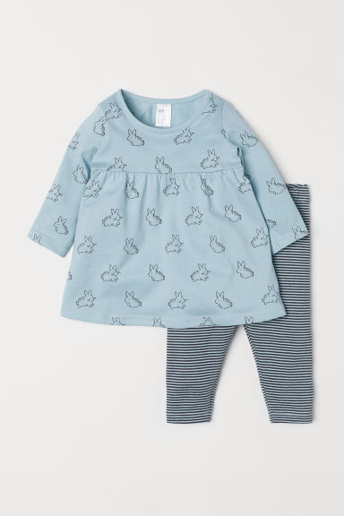 Jersey dress and leggings - Turquoise/Rabbit - Kids | H&M IE