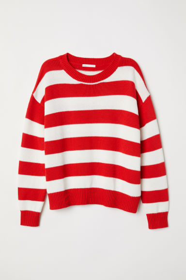 Knitted jumper - Red/Striped -  | H&M CN