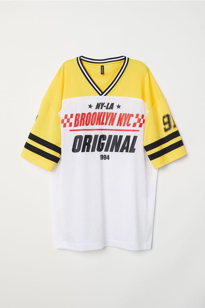 13f988643564 Mesh T-shirt - Yellow white - Ladies