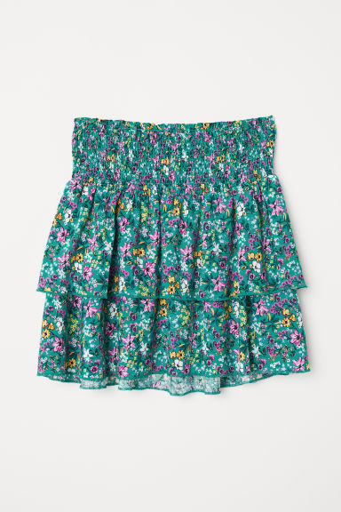 Gonna con smock e volant - Verde/fiori - DONNA | H&M IT