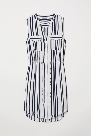 Sleeveless dress - White/Dark blue striped - Ladies | H&M CN