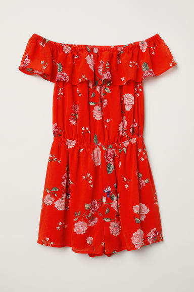 Off-the-shoulder playsuit - Bright red/Floral - Ladies | H&M