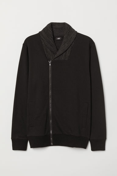 Cardigan con collo a scialle - Nero mélange - UOMO | H&M IT