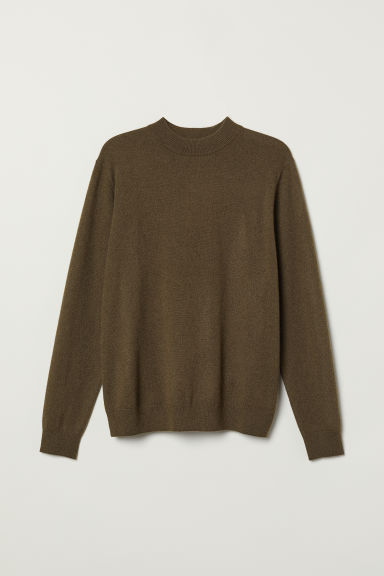 Cashmere jumper - Dark khaki green - Men | H&M CN