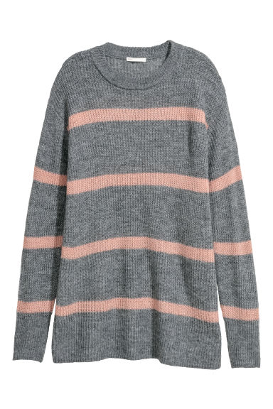 Knitted jumper - Grey/Powder pink -  | H&M