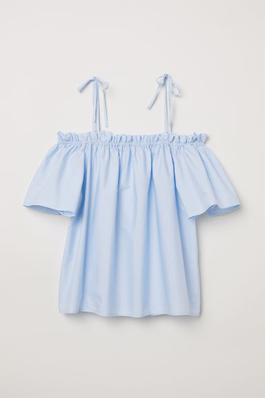 Off-the-shoulder blouse - Light blue - Ladies | H&M