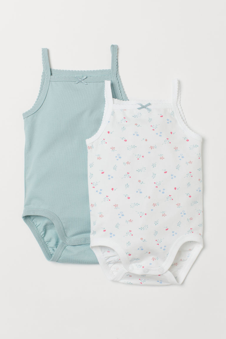 2er-Pack Bodys - Türkis/Geblümt - Kids | H&M AT
