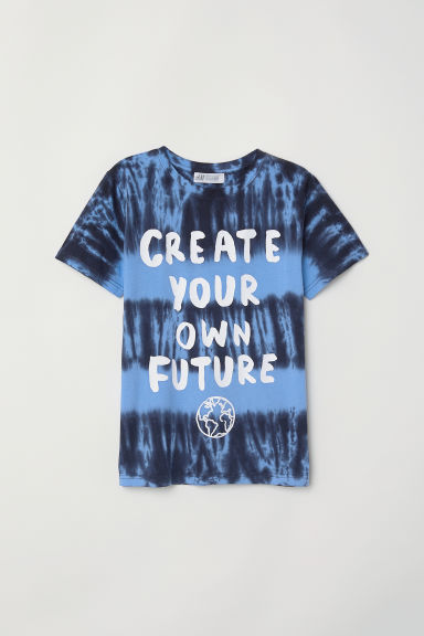 Printed T-shirt - Blue/Batik pattern -  | H&M