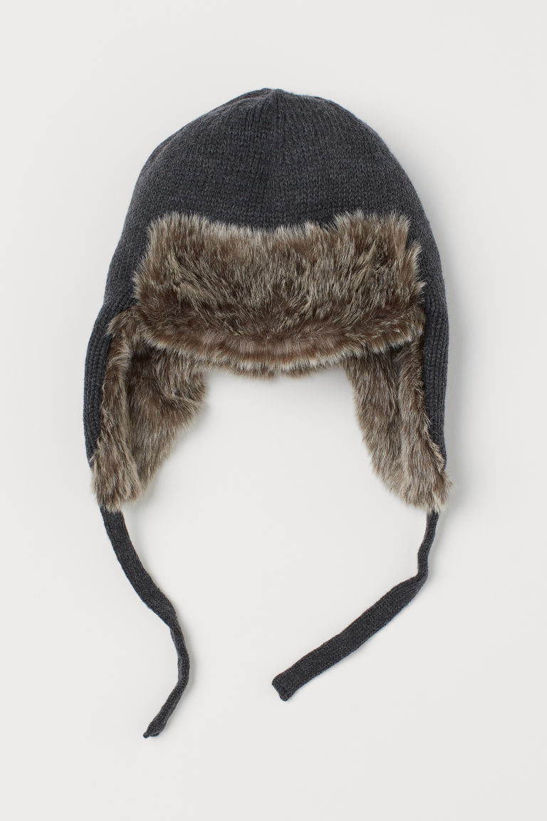 Hat with earflaps - Dark grey marl -  | H&M