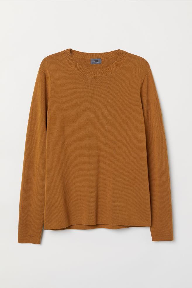 94717e4bc3e1e4 Premium cotton jumper - Light brown - Men | H&M ...