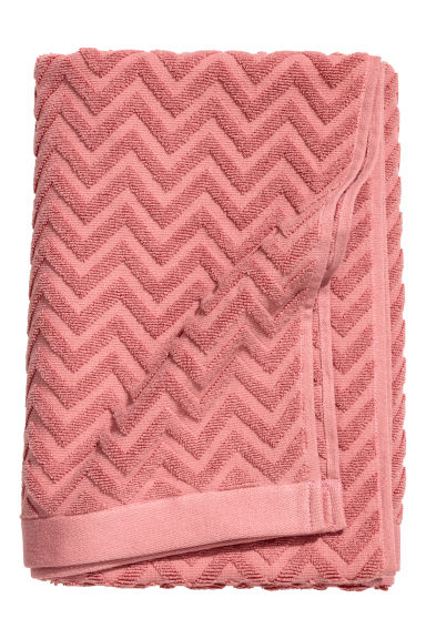 Jacquard-patterned bath towel - Dark pink - Home All | H&M CN