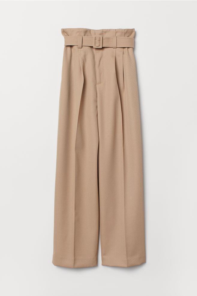 b091a8315193da Paper-bag Pants - Beige - Ladies | H&M ...