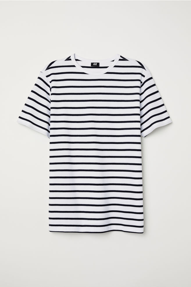 217b6a58c7bf5e ... Cotton Piqué T-shirt - White/black striped - Men | H&M ...