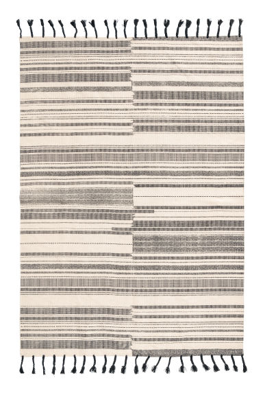 Striped cotton rug - Anthracite grey/Natural white -  | H&M CN