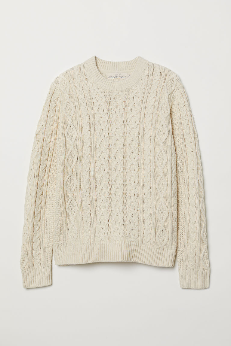 Cable-knit jumper - Natural white - Men | H&M CN