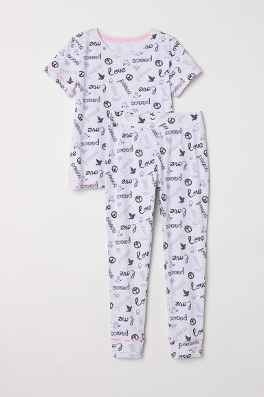 Jersey pyjamas - Light grey - Kids | H&M CN