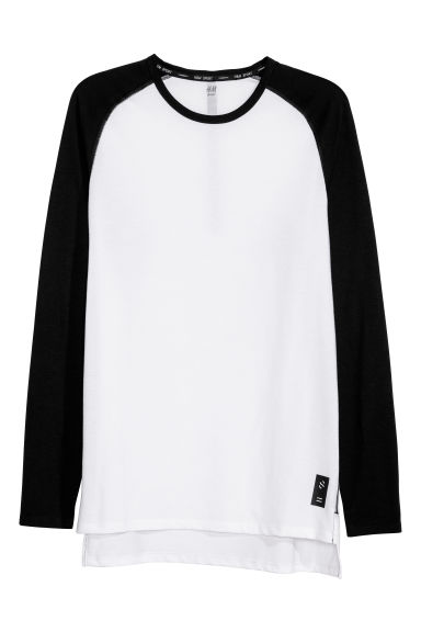 Sports top - White/Black -  | H&M
