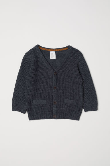 Textured-knit cardigan - Dark grey marl - Kids | H&M