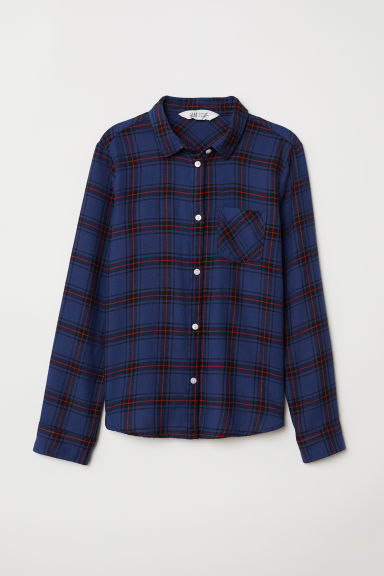 Cotton flannel shirt - Dark blue/Checked - Kids | H&M CN