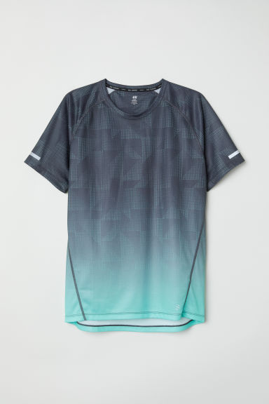 T-shirt da running - Grigio scuro/turchese - UOMO | H&M IT