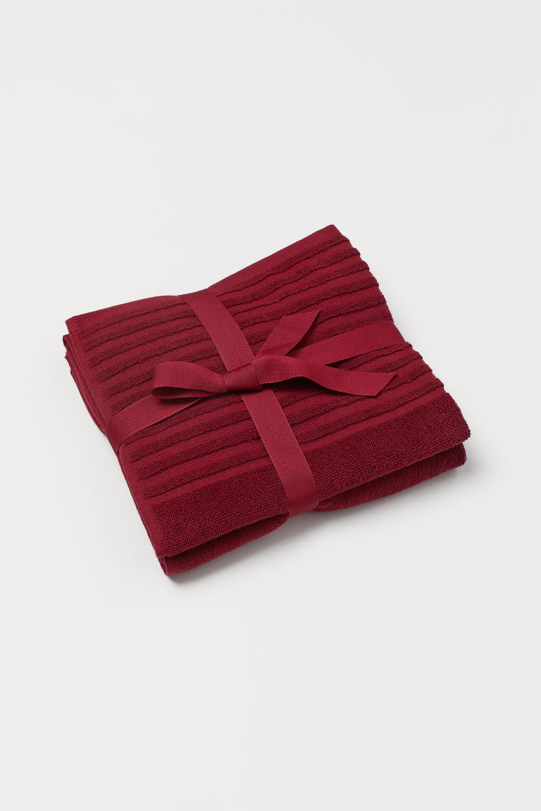 Serviettes, lot de 2 - Rouge foncé - HOME | H&M BE