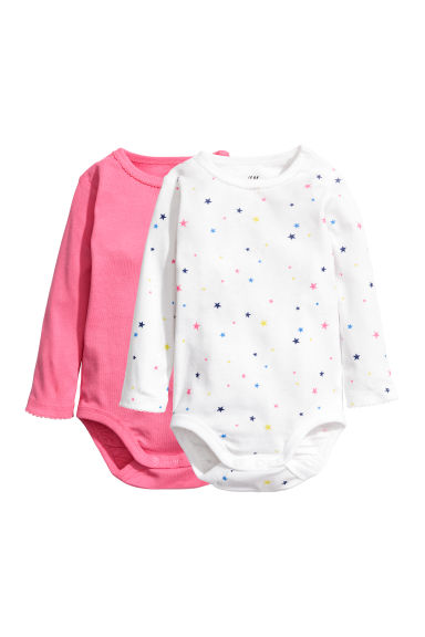 2-pack long-sleeved bodysuits - Pink/Stars - Kids | H&M CN