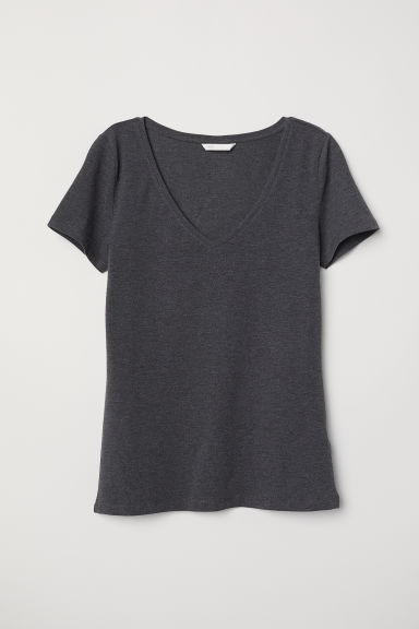V-neck jersey top - Dark grey marl - Ladies | H&M