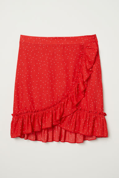 Flounced skirt - Red/Spotted - Ladies | H&M