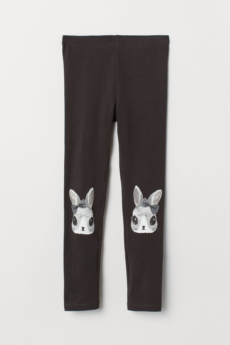 Printed leggings - Black/Rabbits - Kids | H&M GB
