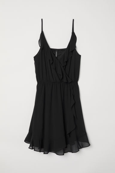 Short flounced dress - Black - Ladies | H&M CN