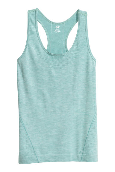 Seamless sports vest top - Light green marl - Ladies | H&M IE