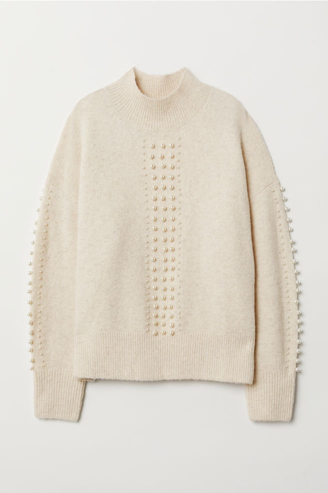 3dce327385 ... Fine-knit Sweater with Beads - Cream - Ladies