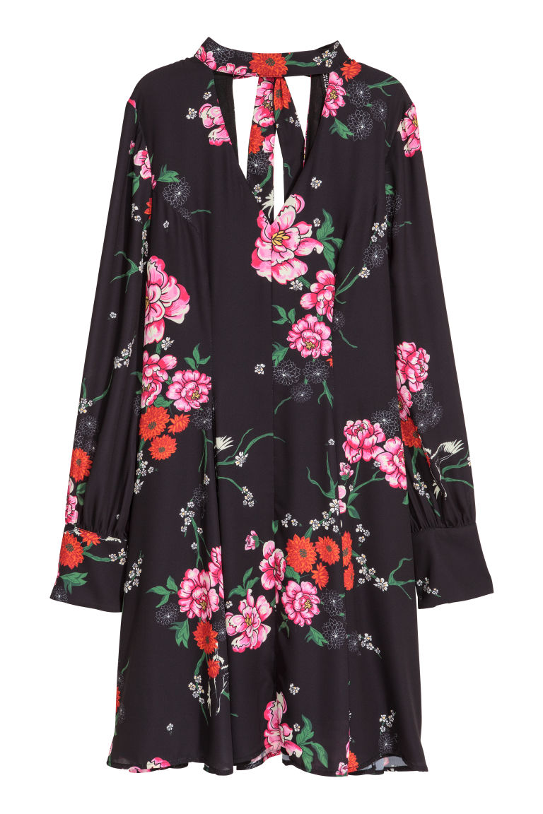 Patterned chiffon dress - Black/Floral -  | H&M CN