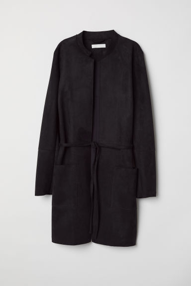 Coat with a tie belt - Black -  | H&M