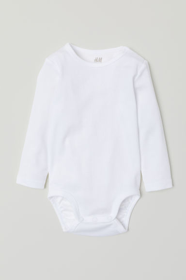 Long-sleeved bodysuit - White - Kids | H&M