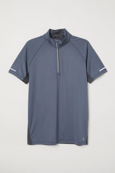 Short-sleeved running top - Steel blue -  | H&M