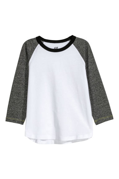 Jersey top - White/Black marl - Kids | H&M