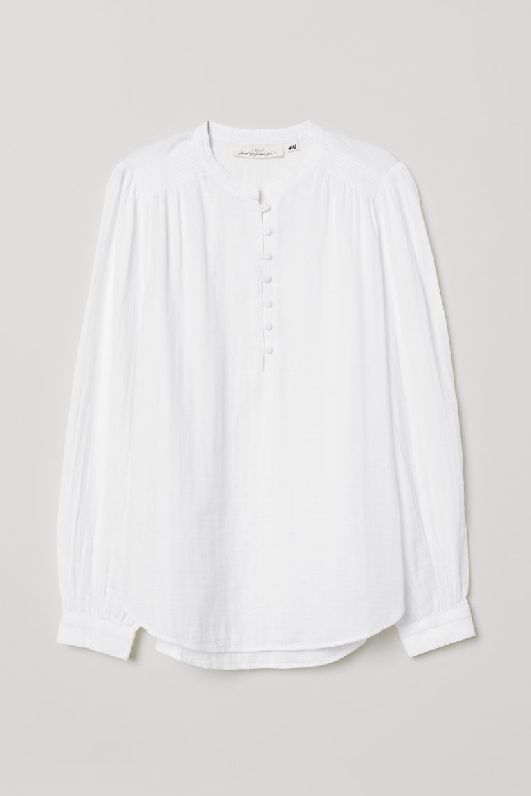 Blouse with Buttons - White - Ladies | H&M US