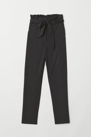 Paper bag trousers - Dark grey marl - Ladies | H&M CN