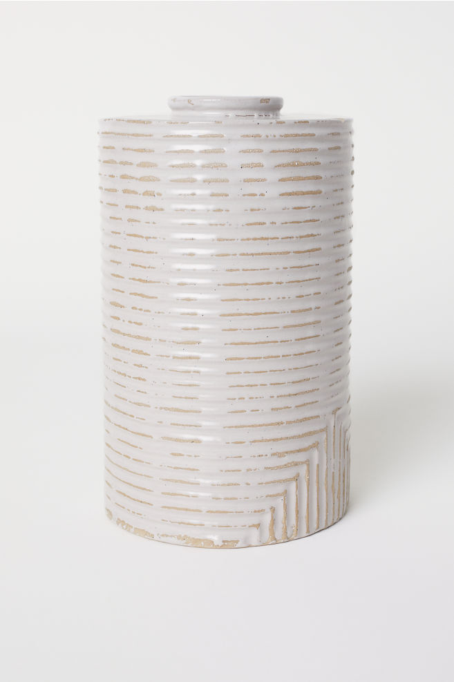 Hohe Vase Aus Steingut Hellgrau Home All Hm At