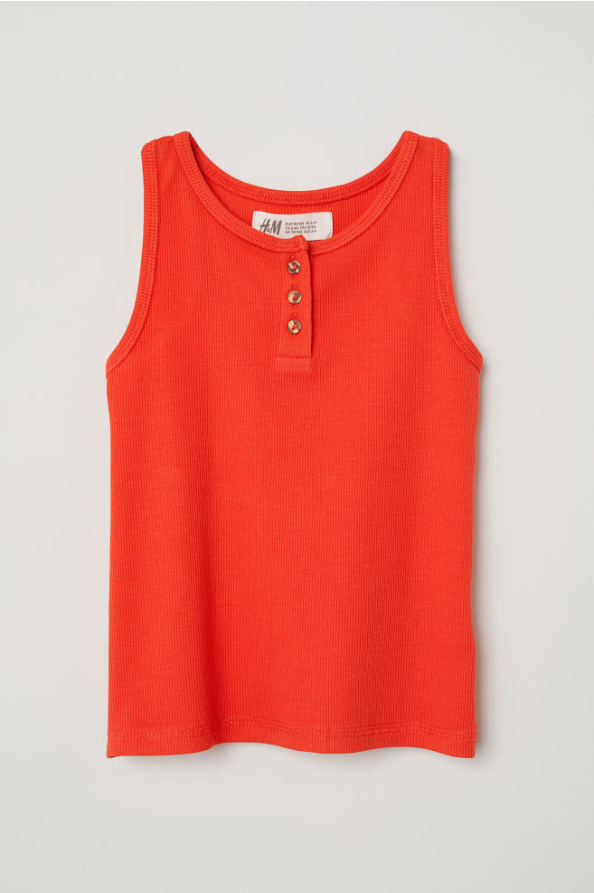 dacb2afdfbae4 Ribbed Tank Top with Buttons - Bright red - Kids | H&M ...