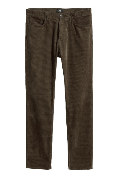 Corduroy trousers Skinny fit - Dark khaki green -  | H&M CN