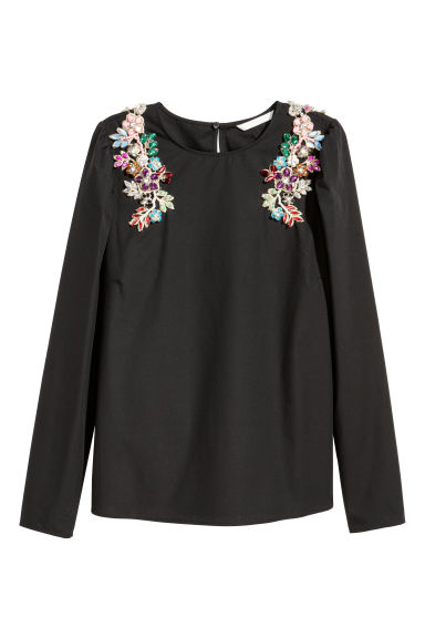 Cotton blouse with sparkles - Black -  | H&M IE