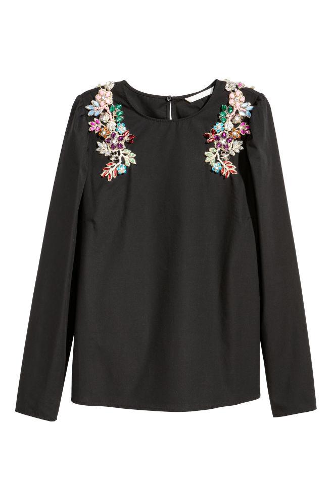 374eda5c647 Хлопковая блузка со стразами - Черный - Женщины