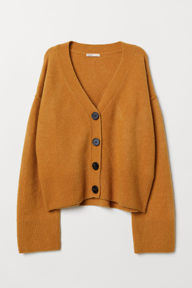 V-neck Wool-blend Cardigan - Dark yellow - Ladies | H&M US