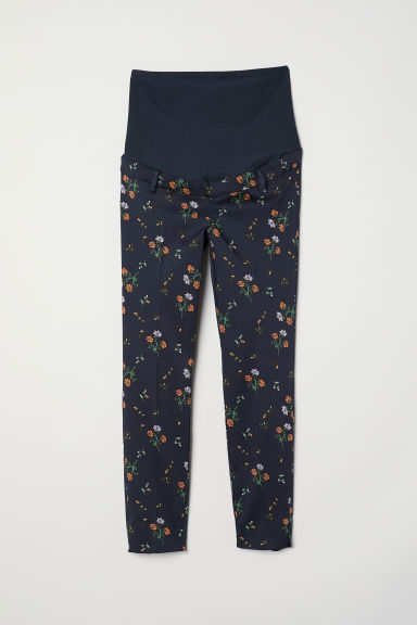 MAMA Cigarette trousers - Dark blue/Small floral - Ladies | H&M