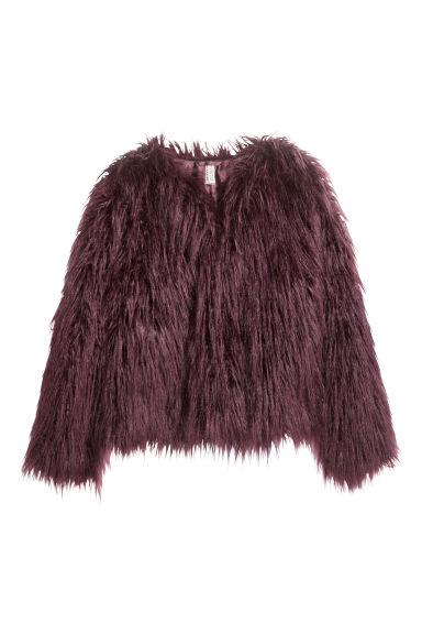 Faux fur jacket - Dark purple - Ladies | H&M